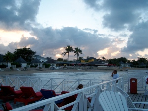 Sunset over the resort. This picture was taken from the Jetty Bar, which was built over the rocks/water.