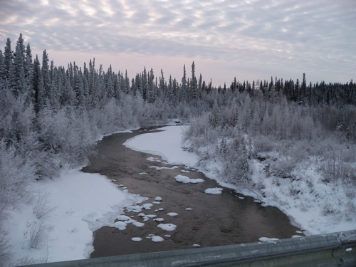 Hodgson Creek. It is unusual because it doesn't freeze all winter long. What a gorgeous day!