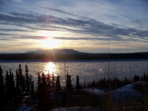 Sun is settin' like molasses in the sky... over the Mackenzie River