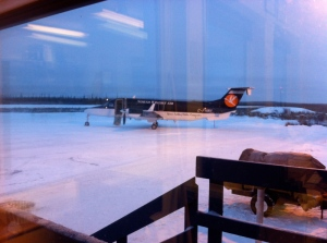 Beech 1900 (B190) at Deline (don't mind all the reflections)