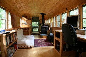 A school bus turned into a cabin!