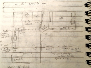 Tiny house layout on a 15' trailer