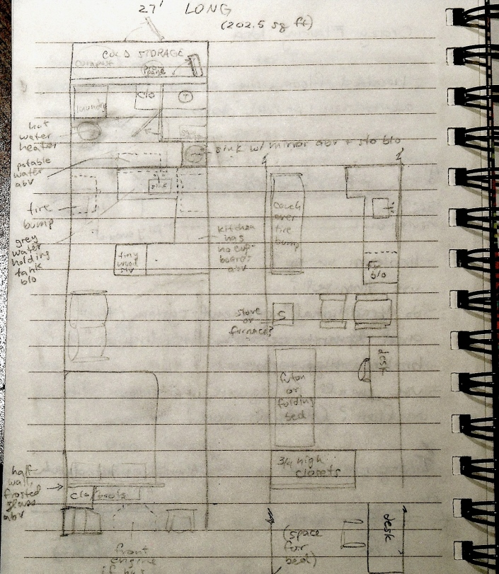 Tiny house layout in a 27' long bus